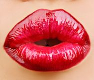 Glam Red gloss lips. Royalty Free Stock Photography
