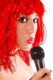 Glam Rock Girl. Red headed Glam Rock Girl singing Royalty Free Stock Photography