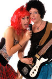 Glam Rock Girls 2. Glam Rock girls rocking out on Electric guitar and vocal Stock Photography