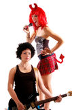 Glam Rock Girls 3. Glam Rock girls rocking out on Electric guitar and vocals Royalty Free Stock Photo