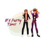 Glam rock party invitation, banner poster template with two men. Glam rock party invitation, banner poster template with two young men in leather clothing Stock Photos