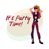 Glam rock party invitation, banner template with long haired man. Glam rock party invitation, banner poster template with young man dressed in vest and boots Royalty Free Stock Image