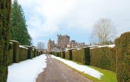 Glamis城堡在冬天 免版税库存图片