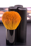 Glammer time - brush and lipstick for make up Royalty Free Stock Photos