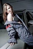 glamorös mekaniker för bil arkivfoton