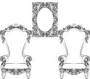 Glamorös Rich Baroque Rococo Furniture uppsättning Fotografering för Bildbyråer