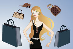Glamorös shoppingflicka 免版税库存图片