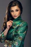 Glamorös ung kvinna i det gröna omslaget för japansk stil som ser stren Arkivbild