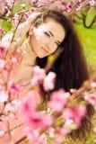 Glamorös ung kvinna med långt hår Arkivbilder