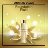 Glamorösa fundamentannonser, glasflaskan med fundamentet och fundamentet plaskar, eleganta annonser för designen, vektorn 3d Arkivfoto