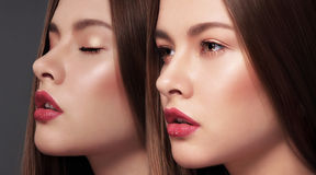 glamor 两名年轻华美的肉欲的妇女的面孔 免版税库存图片