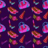 Glamor accessories, bowling type bag, lipstick, perfume, leather court shoes, rose, bright neon pink, blue colors. Watercolor illustration on dark blue Royalty Free Stock Photos