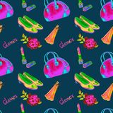 Glamor accessories, bowling type bag, lipstick, perfume, leather court shoes, rose, bright neon pink, green, yellow colors. Watercolor illustration on dark stock illustration