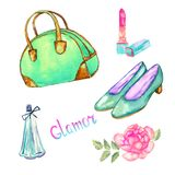 Glamor accessories set, green bowling type bag, lipstick, perfume, turquoise  leather court shoes, pink rose. Hand painted watercolor illustration with Stock Photo