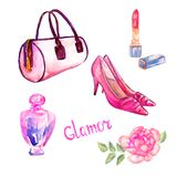 Glamor accessories set, pink barrel type bag, lipstick, perfume, leather kitten heel shoes, pink rose. Hand painted watercolor illustration with inscription Stock Photos