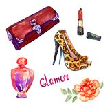 Glamor accessories set, red clutch bag, lipstick, perfume, cheetah spotted suede leather stilettos shoes. Hand painted watercolor illustration with inscription Stock Photography