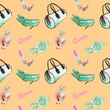 Glamor accessories, turquois barrel type bag, lipstick, perfume, leather kitten heel shoes, rose on soft yellow background. Glamor accessories, turquois barrel vector illustration