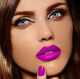 Glamor beautiful stylish model with pink lips Royalty Free Stock Image