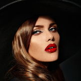 Glamor beautiful sexy stylish model with red lips Royalty Free Stock Images