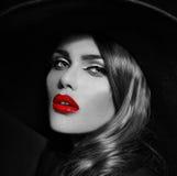 Glamor beautiful sexy stylish model with red lips Stock Photo