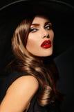 Glamor beautiful sexy stylish model with red lips Stock Image
