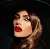 Glamor beautiful sexy stylish model with red lips Stock Images