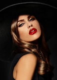 Glamor beautiful sexy stylish model with red lips Stock Photos