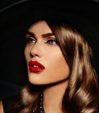 Glamor beautiful stylish model with red lips Stock Photos