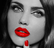 Glamor beautiful sexy stylish model with red lips Royalty Free Stock Photos