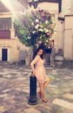 Glamor brunette model posing near flower bed in rays of sun. Vin Stock Image