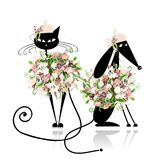 Glamor cat and dog in floral clothes for your Stock Images