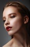 Glamor closeup portrait of beautiful sexy stylish caucasian youn Royalty Free Stock Photo