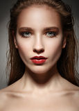 Glamor closeup portrait of beautiful sexy stylish caucasian youn Royalty Free Stock Photos