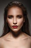 Glamor closeup portrait of beautiful sexy stylish caucasian youn Stock Image