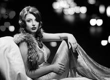 Glamor Fashion Lady Portrait. Black And White Stock Photo