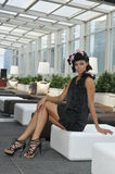 Glamor fashion model in black dress Stock Image