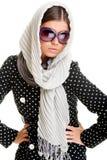 Glamor Frau im Kopftuch stockbilder