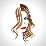 Glamor girl. With brown hair stock illustration