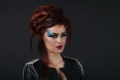 Glamor girl with blue makeup Royalty Free Stock Images