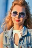 Glamor girl in sunglasses. Royalty Free Stock Image