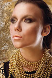 Glamor Golden Make-up Royalty Free Stock Photo