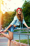 Glamor lifestyle blond woman girl  model in casual jeans shorts cloth Stock Images