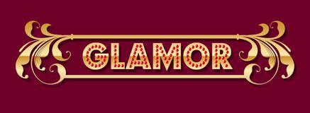 Glamor logo. Golden letters with red rubies in a frame with curls from golden leaves. vector illustration