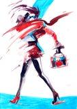 Glamor. Painting of beautiful fashionable sports girl Royalty Free Stock Photo