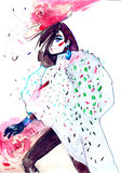 Glamor. Painting of whimsical fashion girl Stock Image