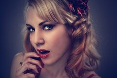 Glamor portrait of blonde woman Royalty Free Stock Photography