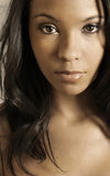 Glamor portrait of young woman. Close up portrait of beautiful young African-American girl Stock Photography