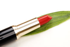 Glamor red shiny lipstick and green leaf Stock Photo