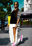 Glamor stylish model in hipster summer clothes Stock Photos