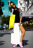 Glamor stylish model in hipster summer clothes Royalty Free Stock Photos